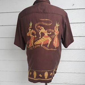 TOMMY BAHAMA Brown Gold Salsa Dancers Large Shirt